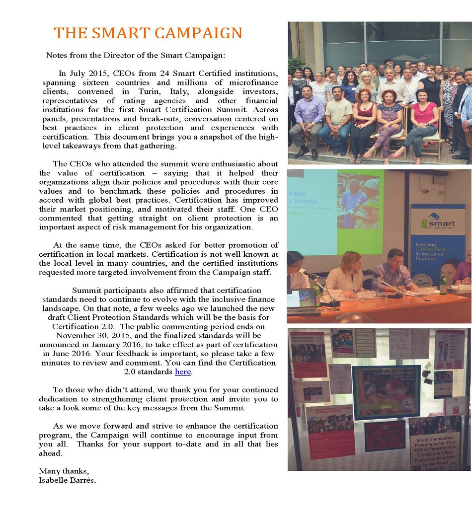SMART Campaign Certification Summit:  Notes & Takeways